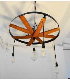 Κρεμαστό φωτιστικό οροφής ξύλινο/μεταλλικό 008