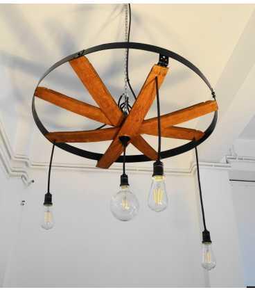 Wooden metal pendant light