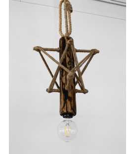 Holz, Metal und Seil hängende Deckenleuchte 100