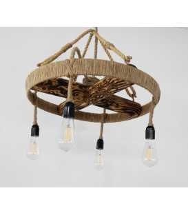 Wood, metal and rope pendant light 101
