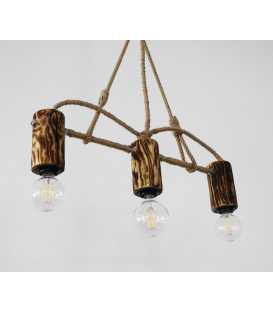 Wood, metal and rope pendant light 104