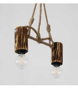 Holz, Metal und Seil hängende Deckenleuchte 105