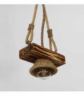 Κρεμαστό φωτιστικό οροφής από ξύλο και σχοινί 109