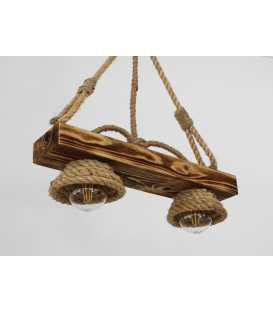 Κρεμαστό φωτιστικό οροφής από ξύλο και σχοινί 110