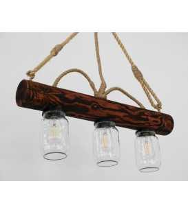 Κρεμαστό φωτιστικό οροφής από ξύλο, σχοινί και γυάλινα βάζα 133