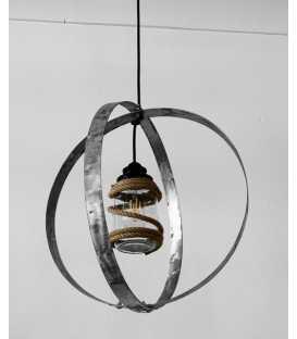 Κρεμαστό φωτιστικό οροφής από μέταλλο, γυάλινο βάζο και σχοινί 140