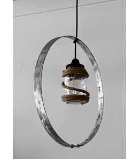 Κρεμαστό φωτιστικό οροφής από μέταλλο, γυάλινο βάζο και σχοινί 142