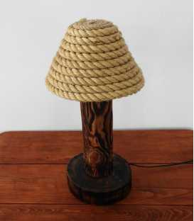 Wood, jar and rope table light 145