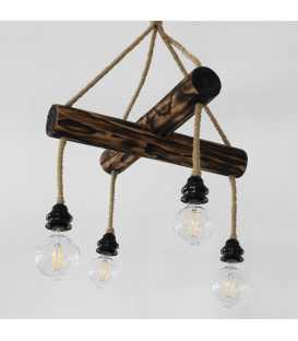 Κρεμαστό φωτιστικό οροφής από ξύλο και σχοινί 147
