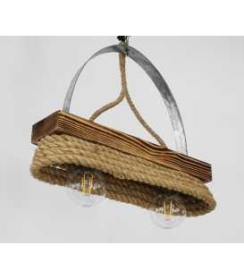 Κρεμαστό φωτιστικό οροφής από ξύλο, μέταλλο και σχοινί 151