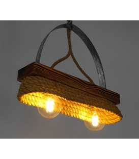 Wood, metal and rope pendant light 151