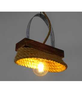 Wood, metal and rope pendant light 152