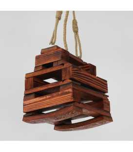 Wood and rope pendant light 158