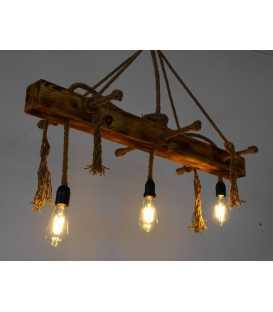 Κρεμαστό φωτιστικό οροφής από ξύλο και σχοινί 160