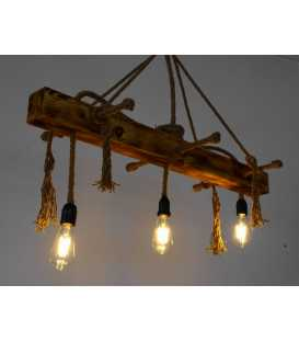 Wood and rope pendant light 160