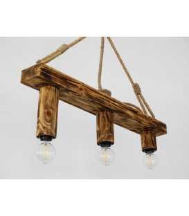Κρεμαστό φωτιστικό οροφής από ξύλο και σχοινί 161
