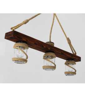 Wood, rope and jar pendant light 163