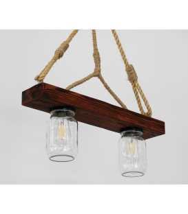 Wood, rope and jar pendant light 164