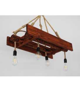 Κρεμαστό φωτιστικό οροφής από ξύλο και σχοινί 173