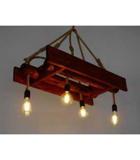 Wood and rope pendant light 173