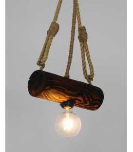 Κρεμαστό φωτιστικό οροφής από ξύλο και σχοινί 174