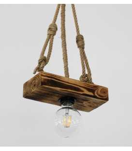 Κρεμαστό φωτιστικό οροφής από ξύλο και σχοινί 178