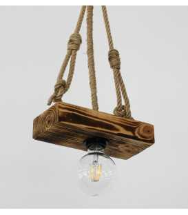 Wood and rope pendant light 178