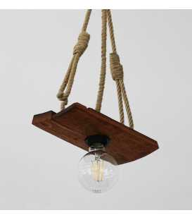 Wood and rope pendant light 179